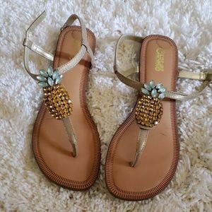 Tropical pineapple sandals by Carlos Santana